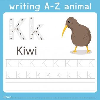 Illustrator, der ein az-tier der kiwi schreibt