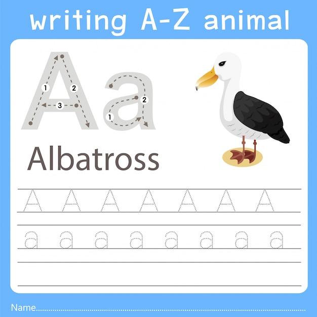 Illustrator, der ein tier von albatros schreibt