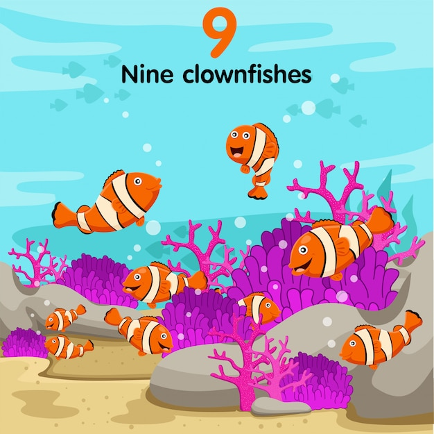 Illustrator der zahl mit neun clownfischen