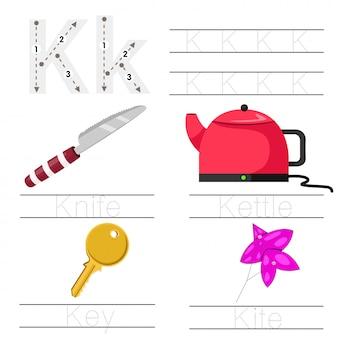 Illustrator des arbeitsblattes für kind k-schriftart
