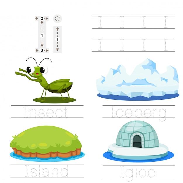 Illustrator des arbeitsblattes für kinder i-schriftart