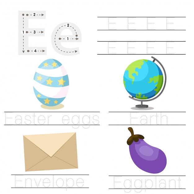 Illustrator des arbeitsblatts für kind e-schriftart