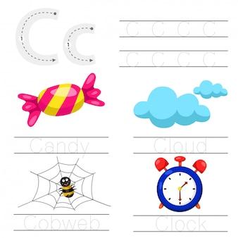 Illustrator des arbeitsblatts für kinder c-schrift