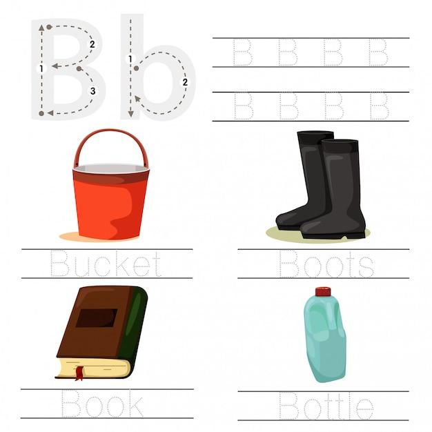 Illustrator des arbeitsblatts für schriftart der kind b