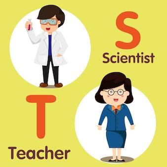 Illustrator des berufscharakters wissenschaftler und lehrer