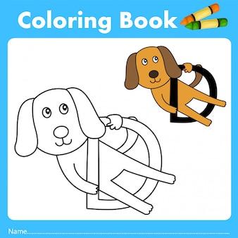 Illustrator des farbbuches mit hundetier
