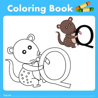 Illustrator des farbbuches mit quolltier