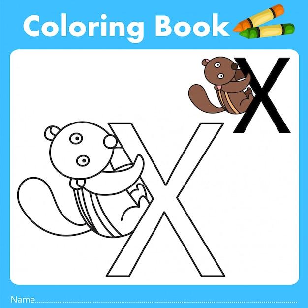 Illustrator des farbbuches mit xerus-tier