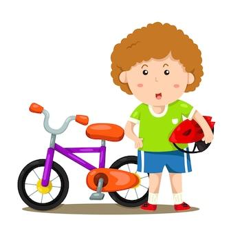 Illustrator des jungen und des fahrrades