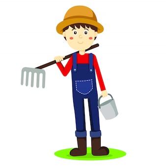 Illustrator des landwirts boy und des werkzeugs