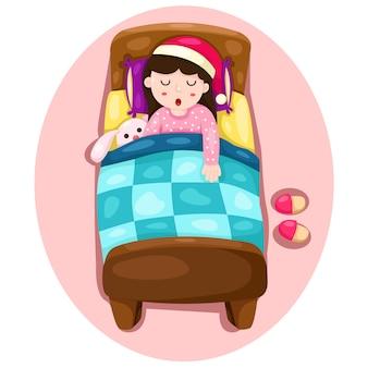 Illustrator des mädchenschlafens