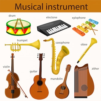 Illustrator des musikinstrumentsatzes