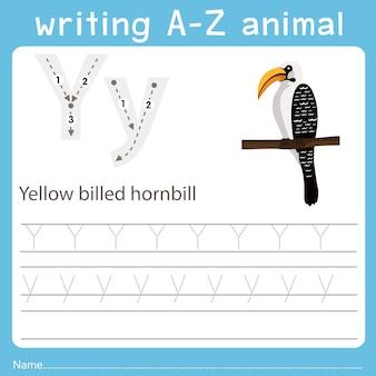 Illustrator des schreibens eines az tieres des gelb berechneten hornbill