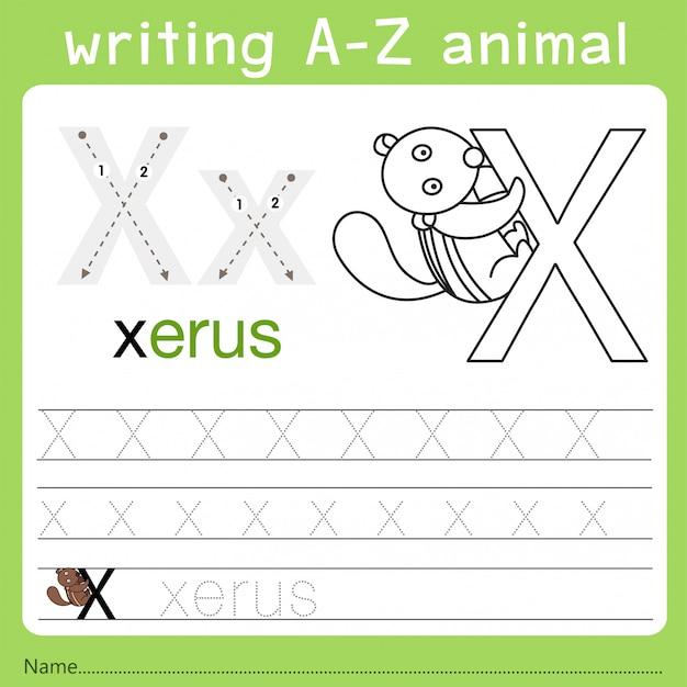 Illustrator des schreibens eines az-tieres x