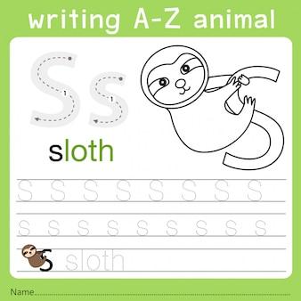 Illustrator des schreibens eines az-tieres