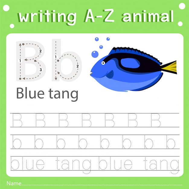 Illustrator des schreibens eines blauen zapfens des tieres b