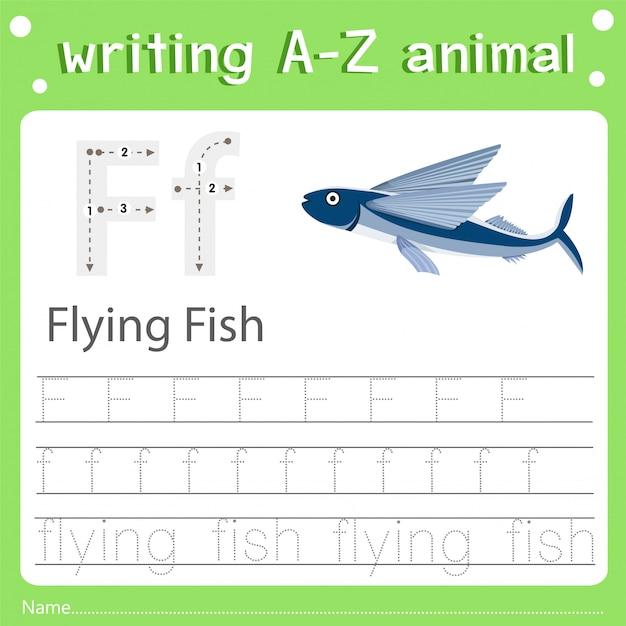 Illustrator des schreibens eines fliegenden fisches des tieres f