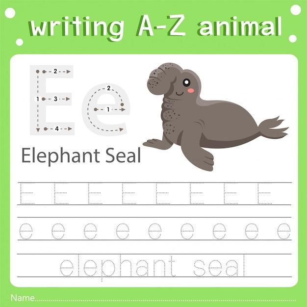 Illustrator des schreibens eines tier- und elefantenrobbens