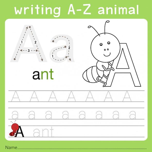 Illustrator des schreibens eines tieres a