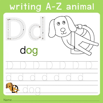 Illustrator des schreibens eines tieres d
