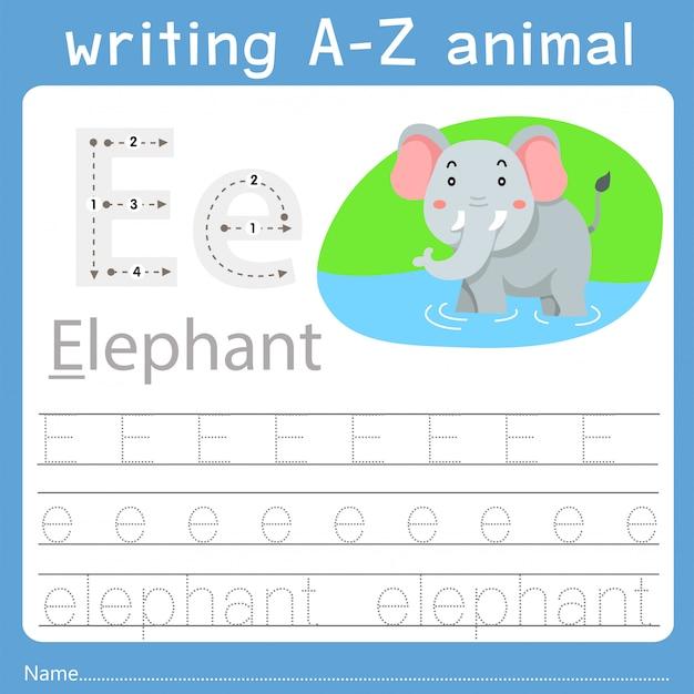 Illustrator des schreibens eines tieres e
