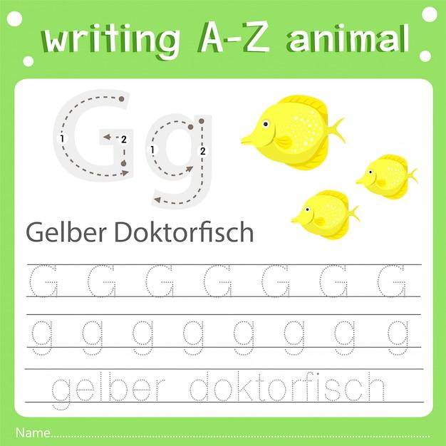 Illustrator des schreibens eines tieres gelber doktorfisch