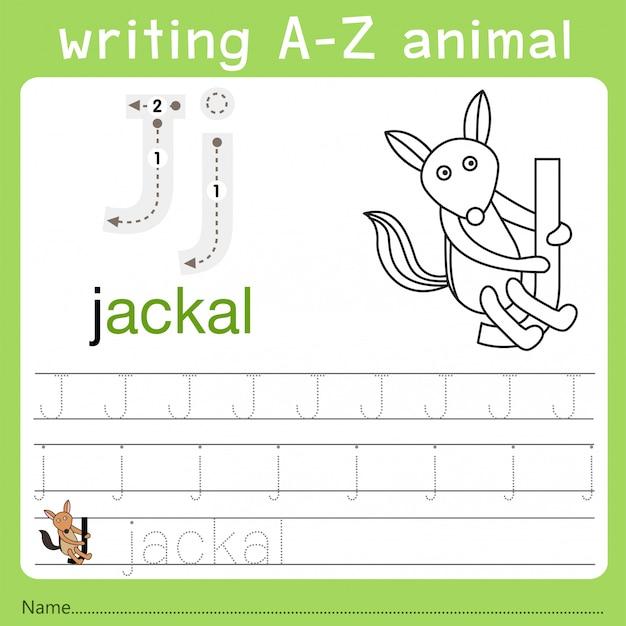 Illustrator des schreibens eines tieres j