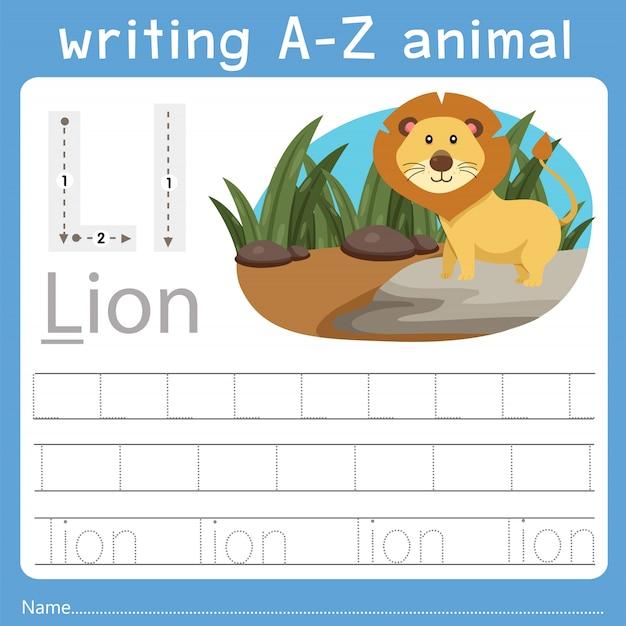 Illustrator des schreibens eines tieres l