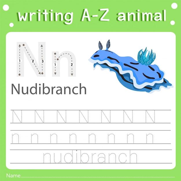 Illustrator des schreibens eines tieres n-nacktschnecke