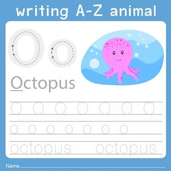 Illustrator des schreibens eines tieres o