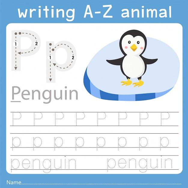 Illustrator des schreibens eines tieres p