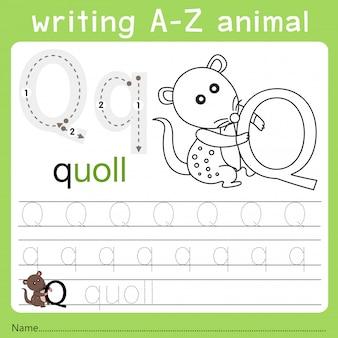Illustrator des schreibens eines tieres q