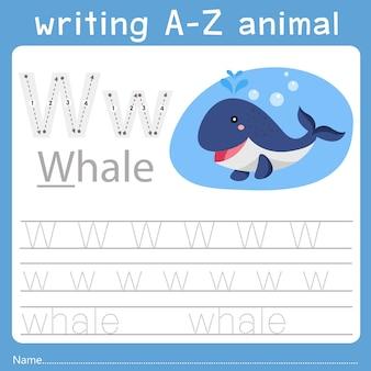 Illustrator des schreibens eines tieres w
