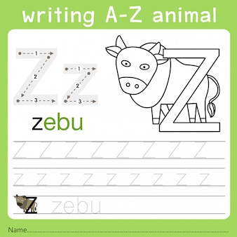 Illustrator des schreibens eines tieres z