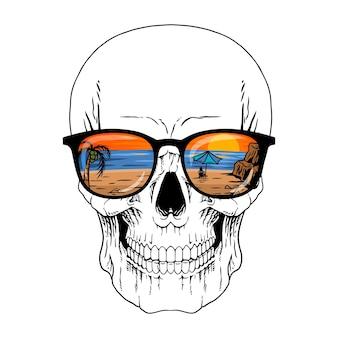 Illustrator schädel urlaub premium vector
