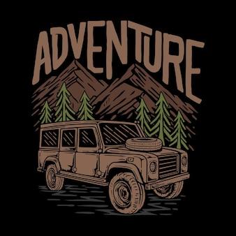 Illustrator sunset mountain camp premium vector