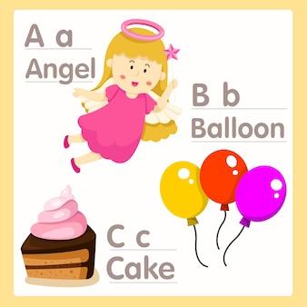 Illustrator von abc mit engelsballon und kuchenalphabet