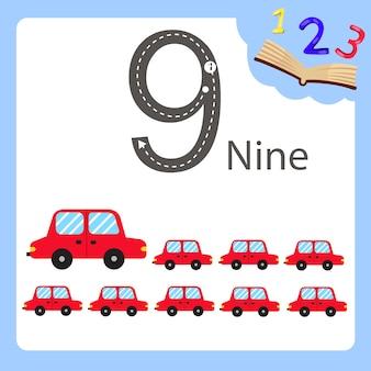 Illustrator von auto mit neun zahlen