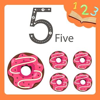 Illustrator von donut mit fünf zahlen