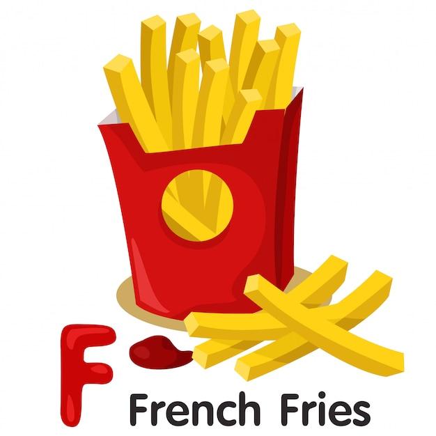 Illustrator von f-schrift mit pommes frites