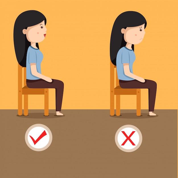 Illustrator von frauen, die position auf dem stuhl sitzen