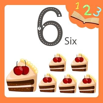 Illustrator von kuchen mit sechs zahlen