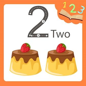 Illustrator von pudding mit zwei zahlen