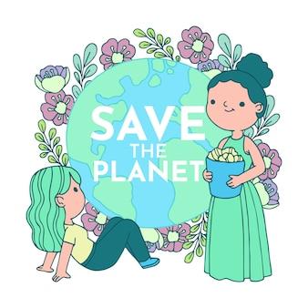 Illustriert mit save the planet design