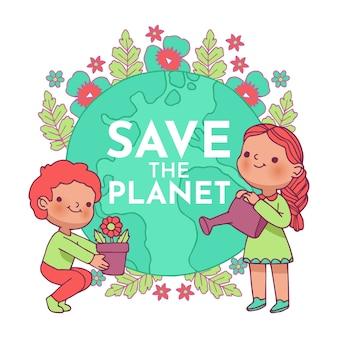 Illustriert mit save the planet