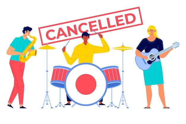 Illustrierte abgesagte musikveranstaltung