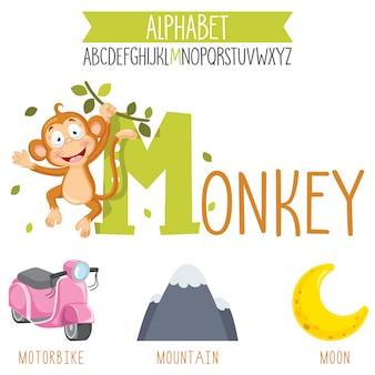 Illustrierte alphabetbuchstaben- und cartoonobjekte