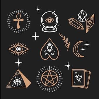 Illustrierte esoterische elemente