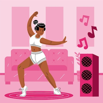 Illustrierte flache tanzfitness zu hause Kostenlosen Vektoren