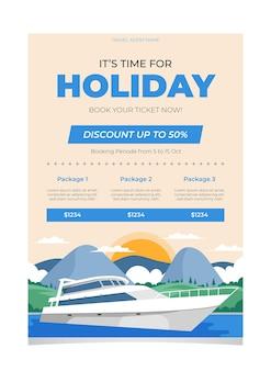 Illustrierte flyer-vorlage für den reiseverkauf
